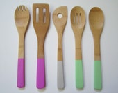 Pastel - Bamboo Utensils Hand-Painted - Bamboo Utensils - Bamboo Spoons - Kitchen Utensils - Painted Utensils - Painted Spoons - Cooking