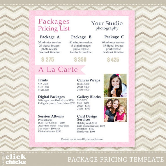 Wedding Photography Packages Template: Photography Package Pricing List Template Price List Price