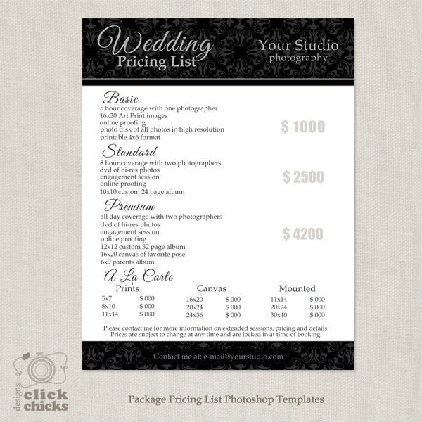 Wedding Photography Pricelist: Photography Package Pricing List Template Wedding