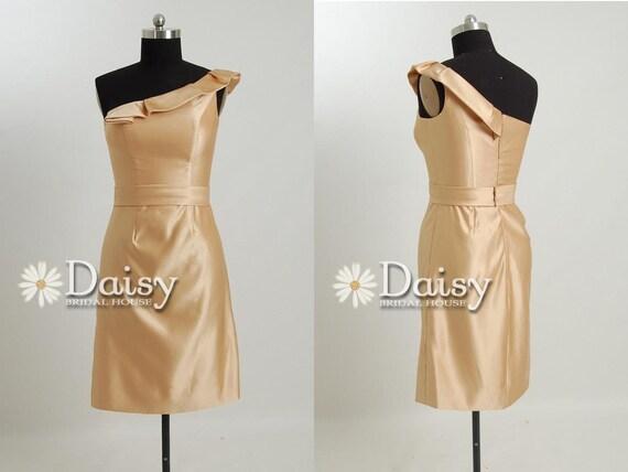 2013 Vintage Gathered Neckline Short  Bridesmaids Dress,Vegas Gold Knee Length Bridesmaid Dress,Gold Party Dress,Formal Dress(BM128136)