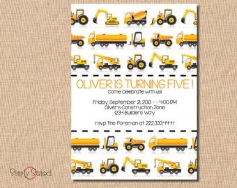 Construction/Truck Birthday Invitations - 5x7