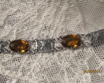 Antique 1920 Filigree Rhodium Bracelet