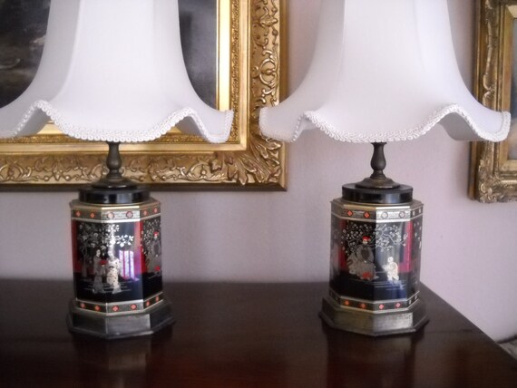 Vintage Pair Frederick Cooper Tole Tin Tea Caddy Lamp Asian, Japanese  Chinese Design