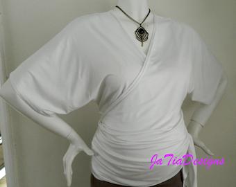 Womens Top Kimono Style Wrap Top Maternity Nursing Top White Soft Comfortable  Versatile Jersey Ruched