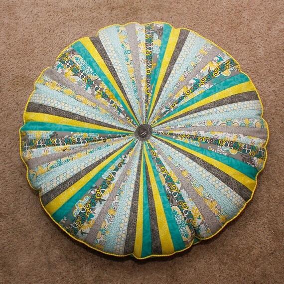 Floor pillow 38 inches round Modern quilt decor