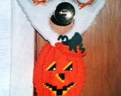 two ghosts in a pumpkin door hanger needlepoint plastic canvas