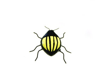 SMALL yellow striped colorado stained glass bug beetle suncatcher home decor