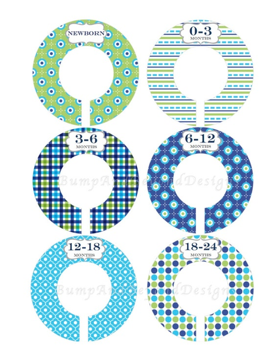 Items similar to custom baby closet dividers boy nursery for Baby clothes size organizer