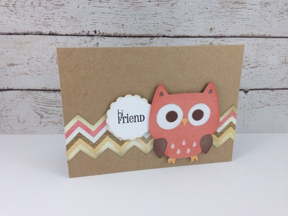 Items similar to Handmade Coral Owl Greeting Card on Etsy