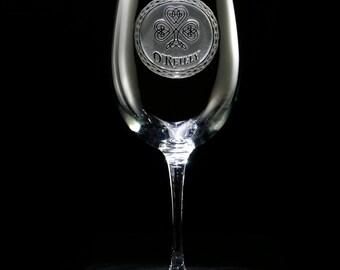 Irish Monogrammed Personalized Wine Glass