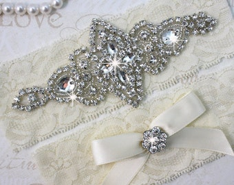 SALE - Best Seller - CHLOE - Wedding Garter Set, Wedding Stretch Lace Garter, Rhinestone Crystal Bridal Garters
