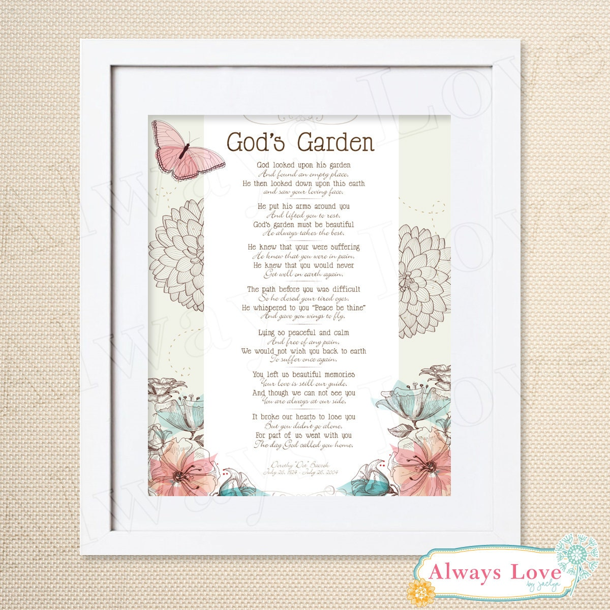 Gods Garden Poem In Memory of Loved One Wall Hanging Wall