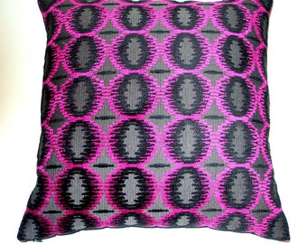 Black- Pink Gray Velvet Ikat/Geometric -Throw Pillow Cover-20 x 20-Handmade-MOOD fabric in NYC-Designer Fabric-June Finds Modern-July Trends