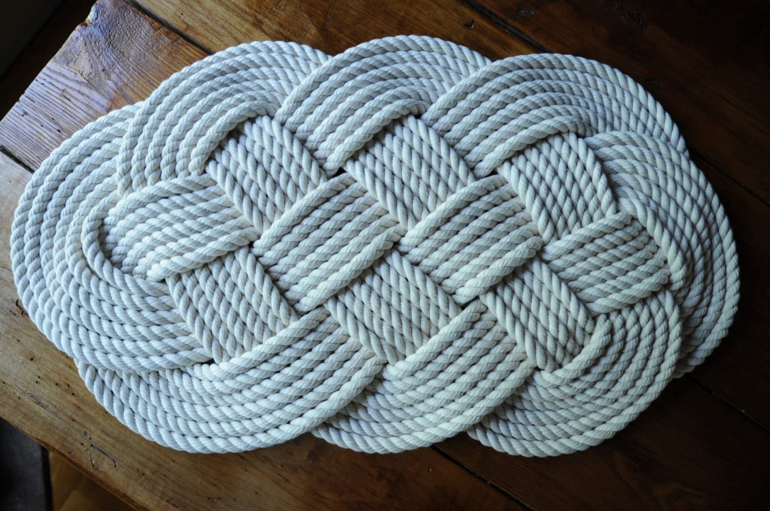 Nautical cotton bath rug nautical decor rope rug by oyknot for Rope bath mat