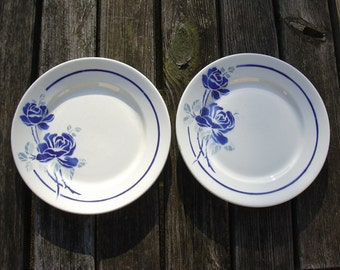 Set of 2 antique French plates, Badonviller 1900 1905. French tablewares.