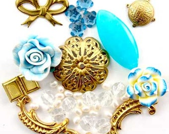 Blue Jade, Fimo Flower, Filigree, Brass,Pearls, Glass, Enchanted Flower Garden Bead Set 16959
