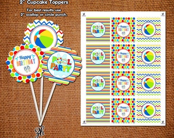 Pool Party Cupcake Toppers Happy Birthday Beach Ball Party Printable Color Polka Dot - Instant Download Digital File