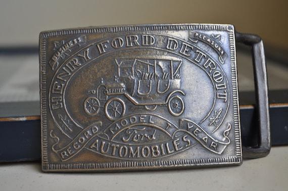 Vintage Belt Buckle All Brass Henry Ford Detroit Record