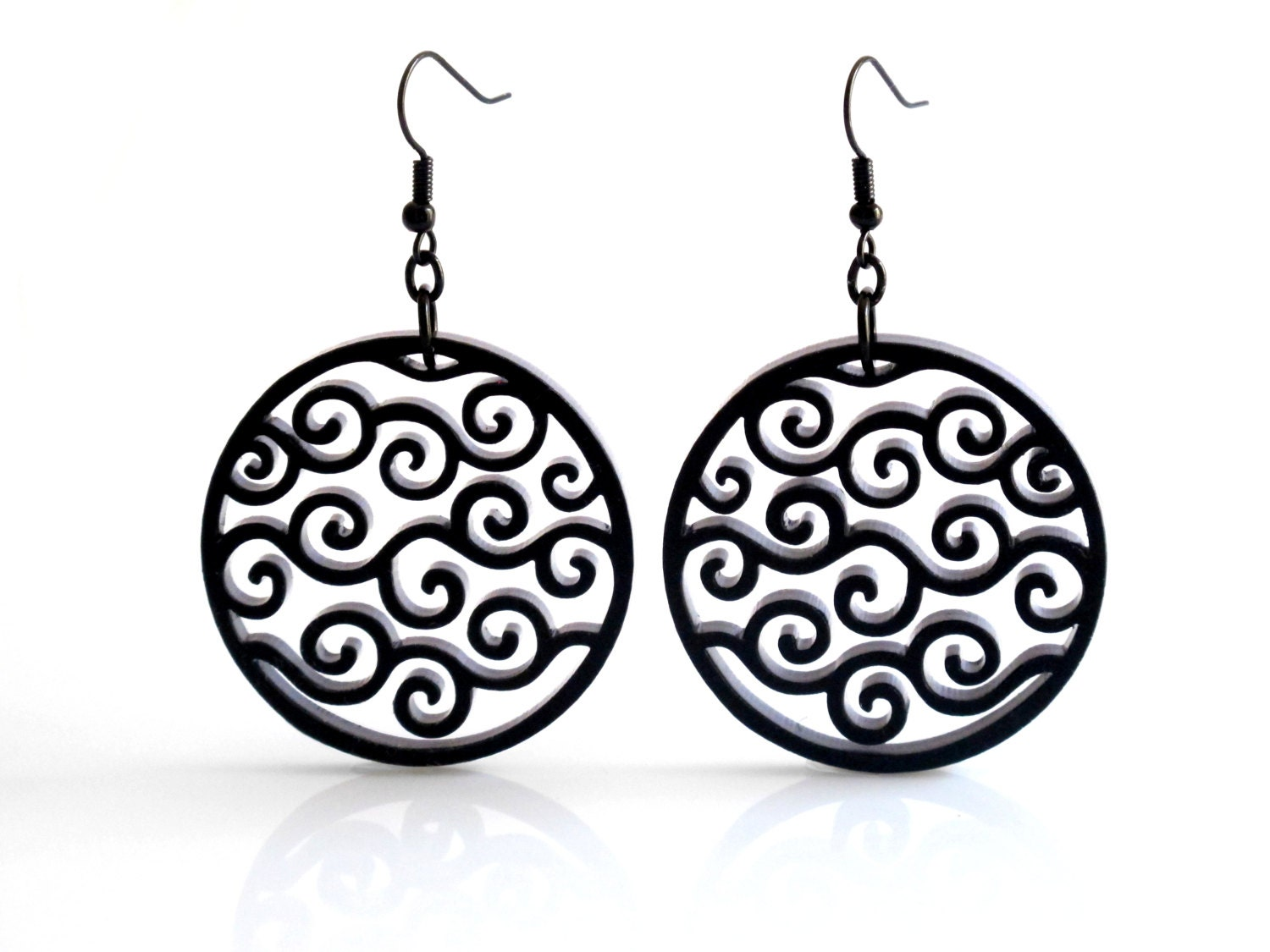 black circle waves earrings spiral earrings geometric