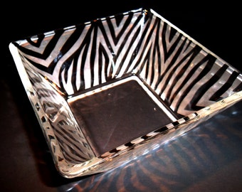 Zebra print etched bowl. Candy dish, zebra decor, serving dish.