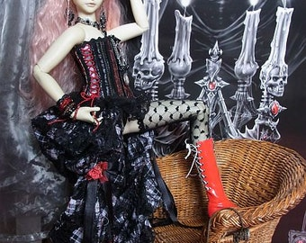 SALE SD bjd Gothic outfit, corsage, half skirt. top hat, panties
