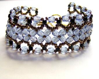 Denim blue crystal lattice bracelet, blue crystal bracelet, blue bracelet, crystal bracelet, lattice bracelet, beadwork bracelet, BR013
