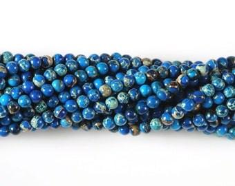 "0583 4mm Aqua blue sea sediment jasper round loose gemstone beads 16"""