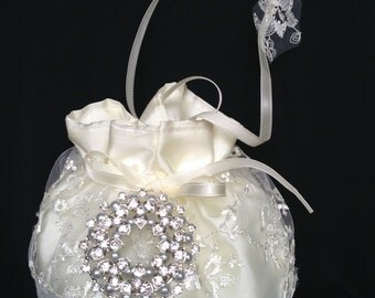 Ivory or White Lace/Satin Bridal Purse, Pearl/Crystal Embellishment, Bridal Money Bag