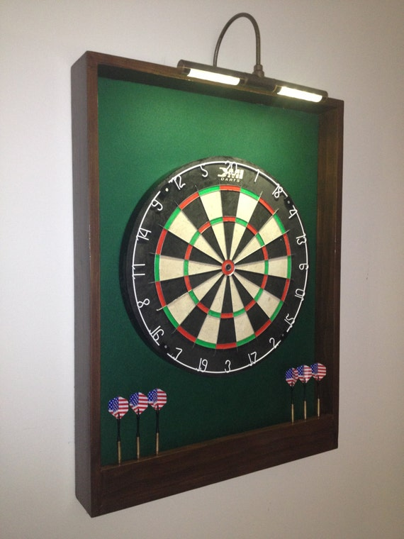 LIGHTED Hunter Green w/ Dark Brown Trim Dart Board Backboard/Surround Dartboard Cabinet  - For Game Room, Man Cave or Gift Idea