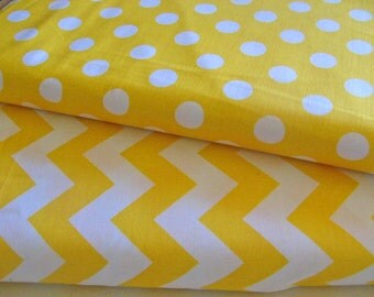 Yellow Medium Chevron Medium Yellow Dot 1/2 Yard Fabric Duo Riley Blake Cotton Fabric