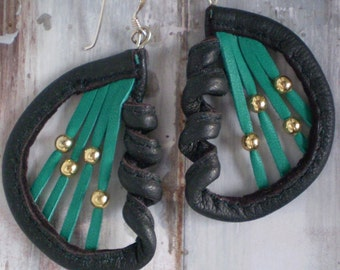 Leather Earrings...Emerald Green and Black Harps ..in recycled leather.
