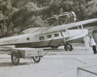 Retro 1940's Wilmington Catalina Airlines Airplane Snapshot Photo - Free Shipping