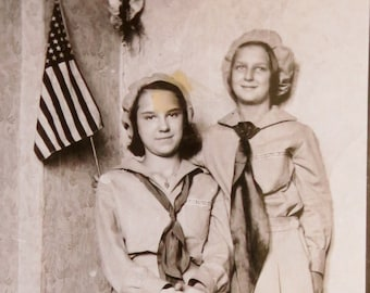 Vintage 1930's Patriotic Sisters In Polish Falcon Uniforms Snapshot Photo - Free Shipping
