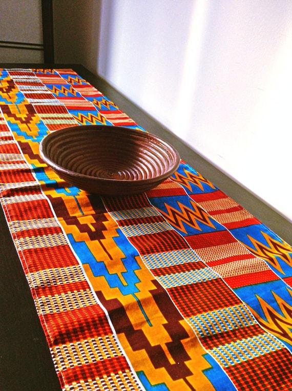 Brick Red Kente African Print Table Runner
