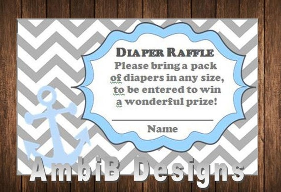 Diaper Raffle Ticket - Nautical / Anchor Theme - Instant Download ...