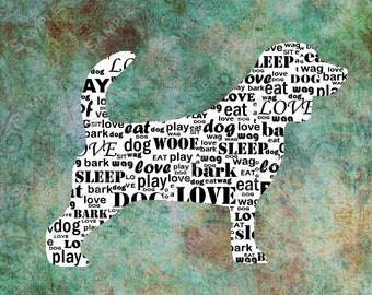Personalized Beagle Dog Silhouette Beagle Word Art 8 X 10 Print Beagle Dog Pet Gifts
