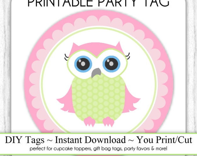 Printable Pink Owl Tags, Pink Owl Baby Shower Printable Party Tag, Owl Cupcake Topper, DIY, You Print, You Cut, Instant Download