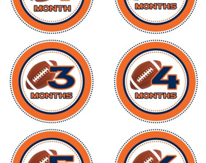 Instant Download - Baby Month to Month Stickers, Football Monthly Birthday Stickers for Baby, Photo Prop Birthday Stickers, Orange and Blue