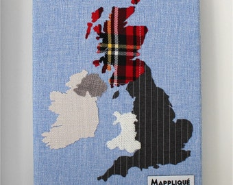 British Isles Fabric Map Wall Art 24x18cm