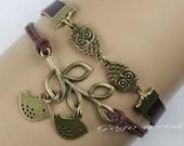 owls bracelet,copper leaves bracelet, birds bracelets,cute owls,braid leather,antique coppery ,fashion charm bracelet,-z459