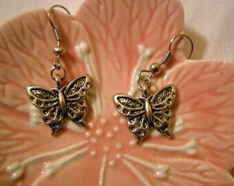 Tibetan Silver Butterfly Earrings