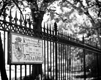 New Orleans French Quarter Black and White Photograph, Jackson Square, Architecture