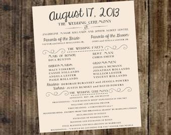 Wedding Program - Ivory, Off White, DIY Printable, Rustic, Vintage, Contemporary, Modern, Farm, Outdoor, Reception, Ceremony, Marriage