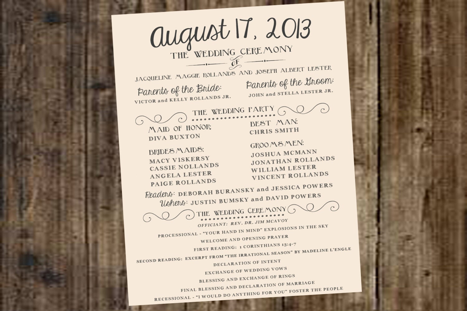 Wedding Program Ivory Off White DIY Printable Rustic