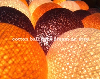 Brown orange white colors String Lights 20 Lanterns cotton ball holiday/Party