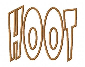 Hoot Text  Applique Designs N082