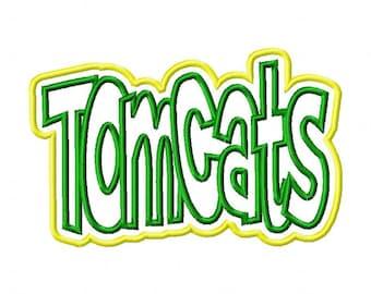 Tomcats Text Double Applique Designs N406
