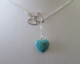 Turquoise Heart Necklace - Lariat Style
