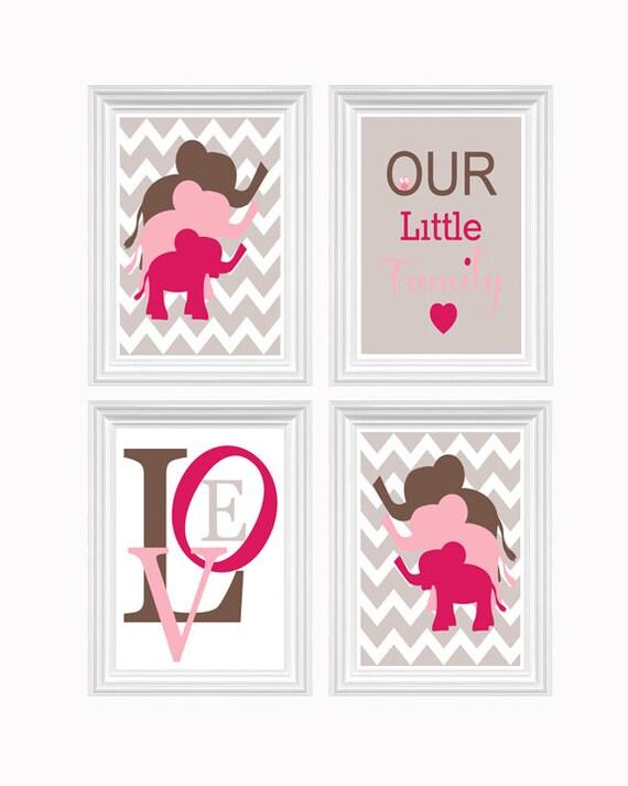 Elephant Nursery Decor Pink Brown Custom Print Love Art