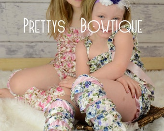 Lace Petti Romper Floral in pink or blue in Baby, Toddler, & Girls Sizes